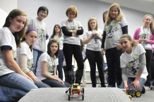 photo of girls at robotics event