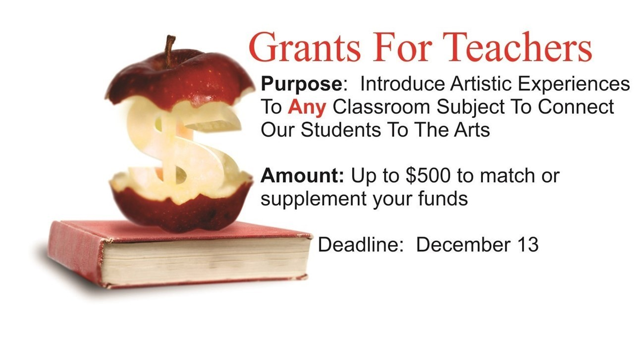 image of an apple with a dollar sign and announcement of grants for teachers