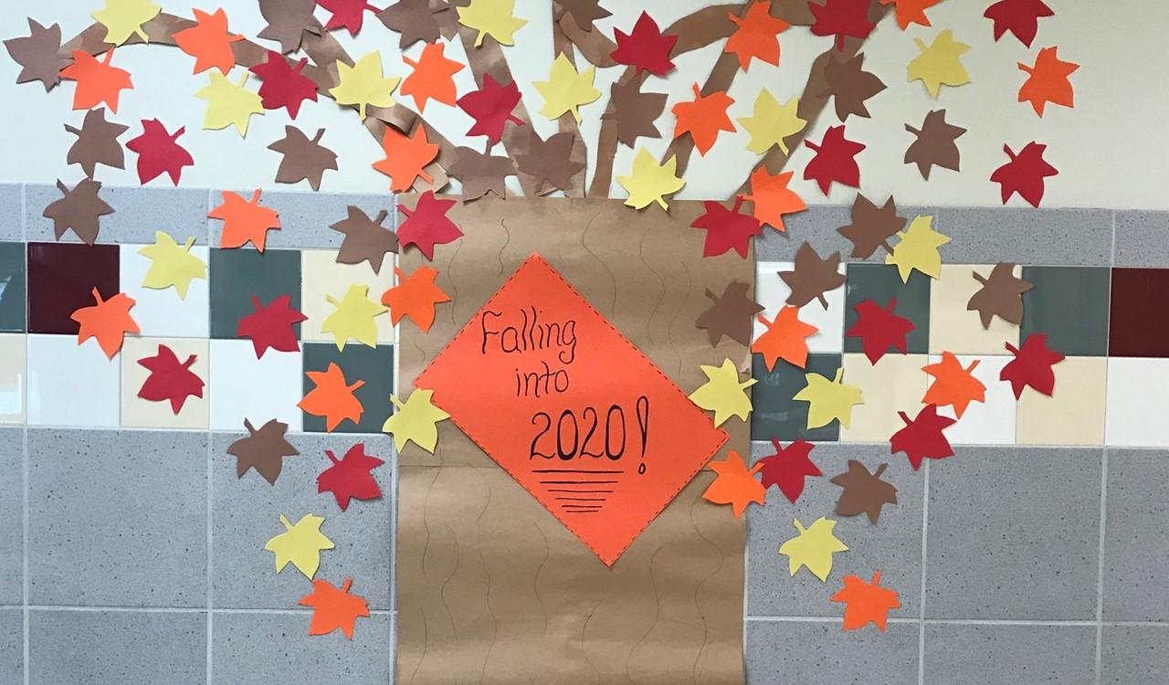 fall leaves at school hallway mural