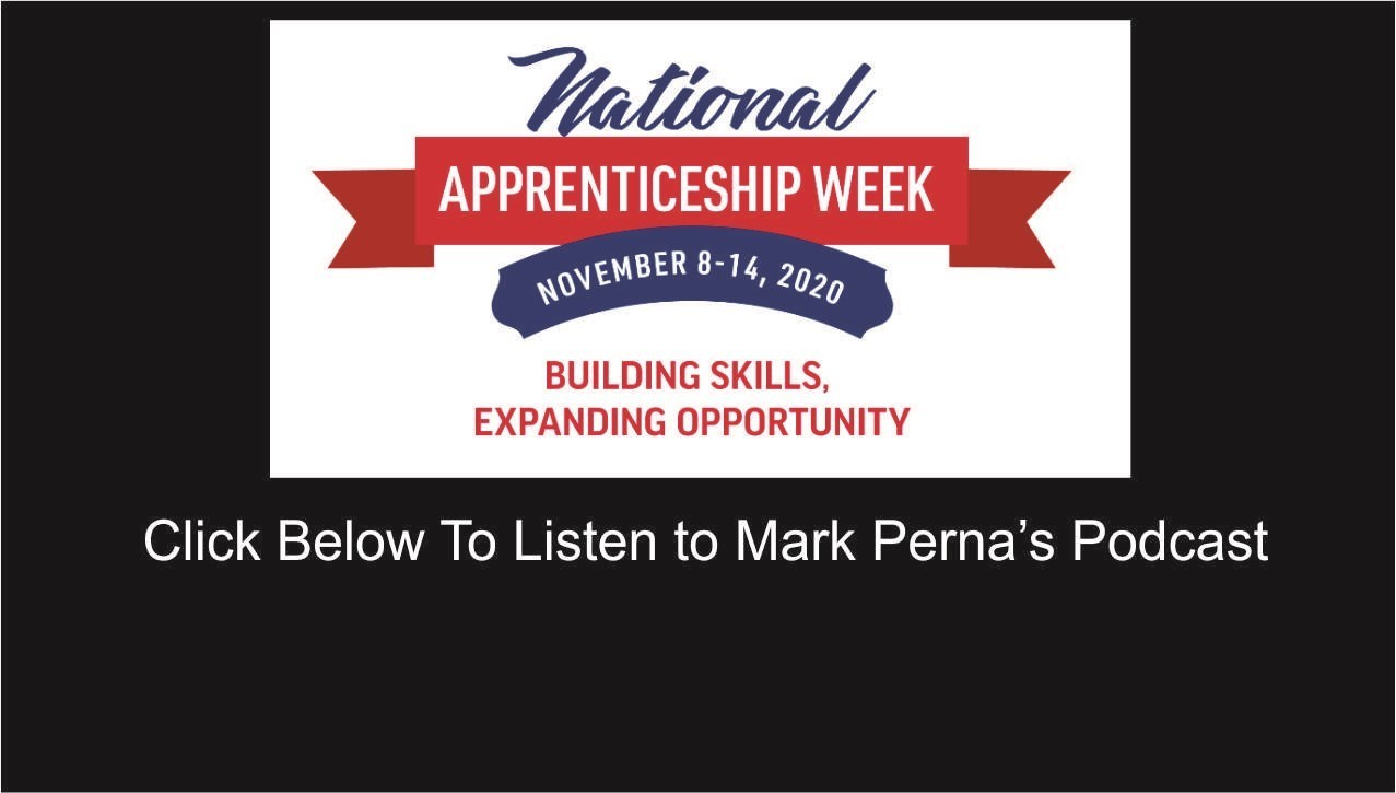 image of apprenticeship week with link to listen to Perna's podcast