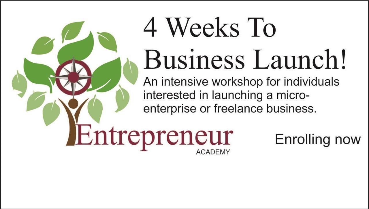 image of entrepreneur program logo and january workshop information