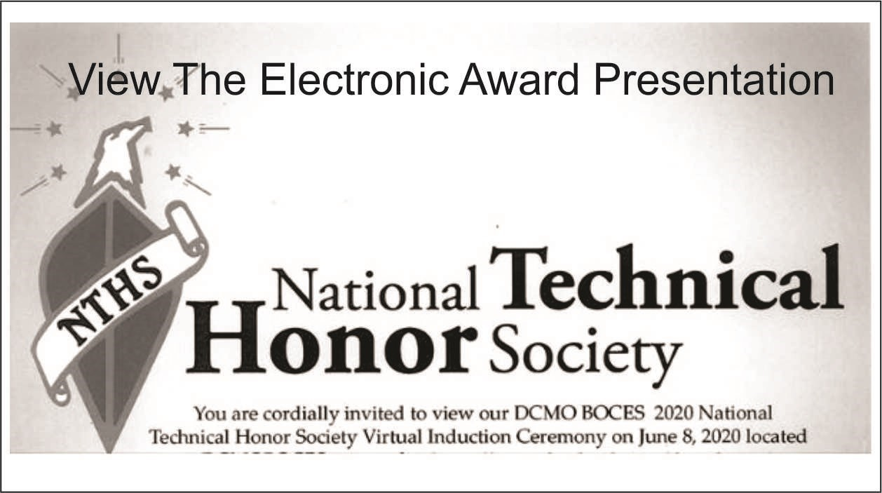 Image of National Technical Honor Society with link to view electronic ceremony