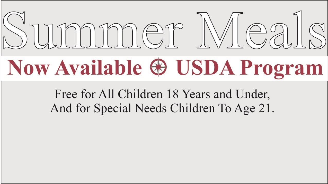 text that says summer meals now available linked to news article with more details