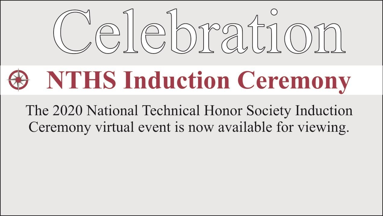 text that says NTHS induction with link to National Technical Honor Society virtual celebration