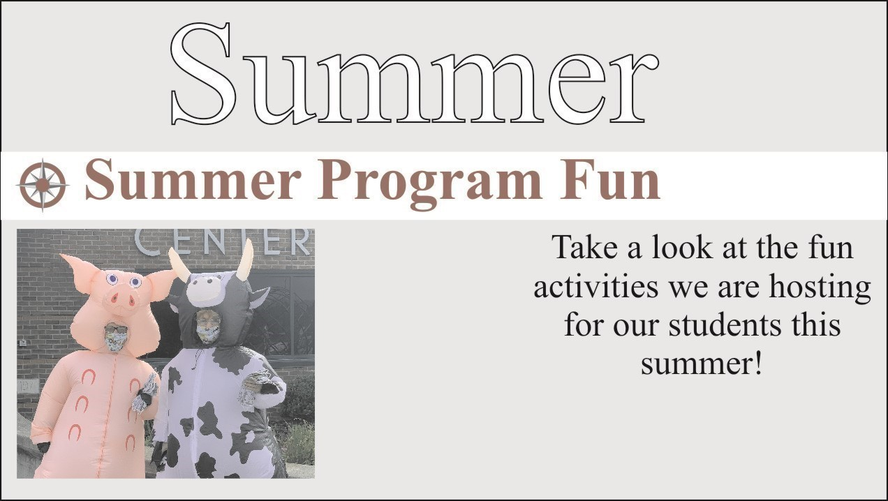 image of staff dressed as farm animals. word summer with link to summer camp information