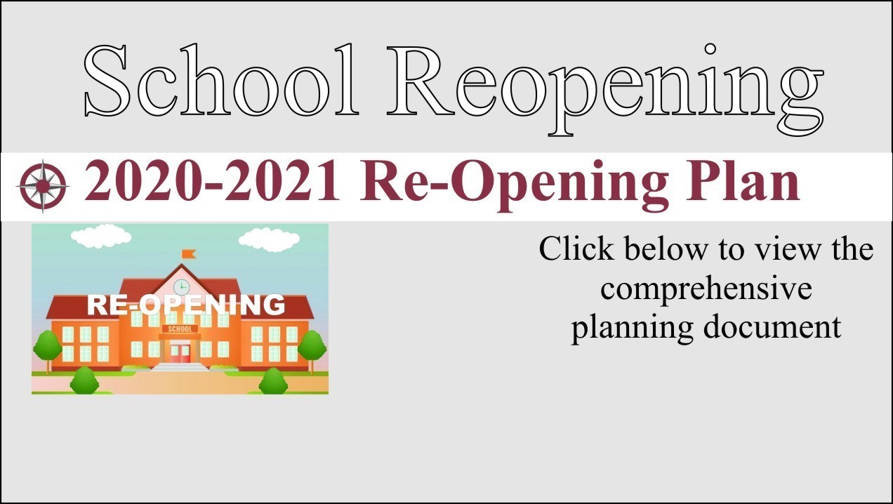 image of school with link to reopening plan