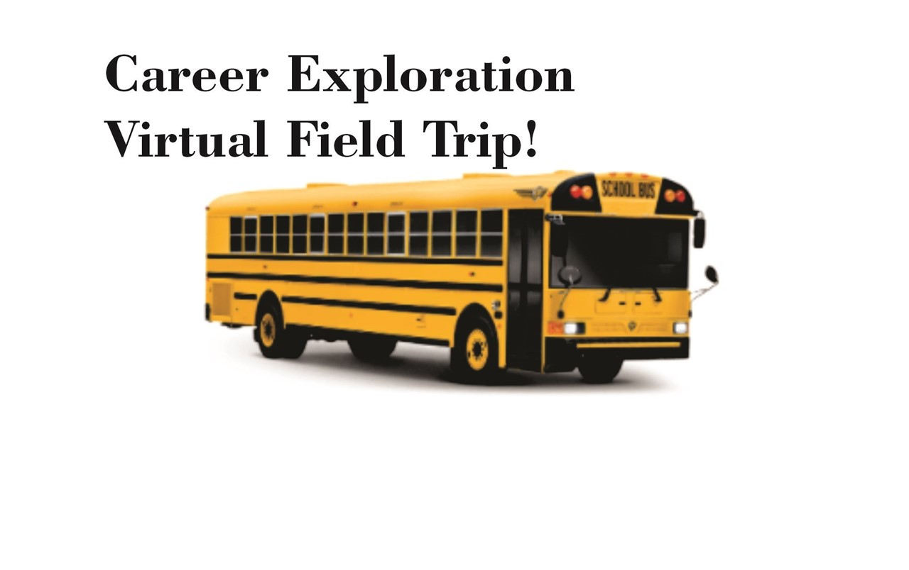 image of a school bus with link to virtual career exploration site