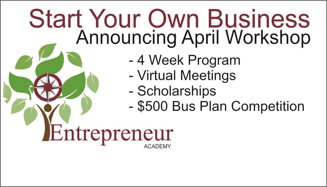 logo of entrepreneur academy with link to website for april course