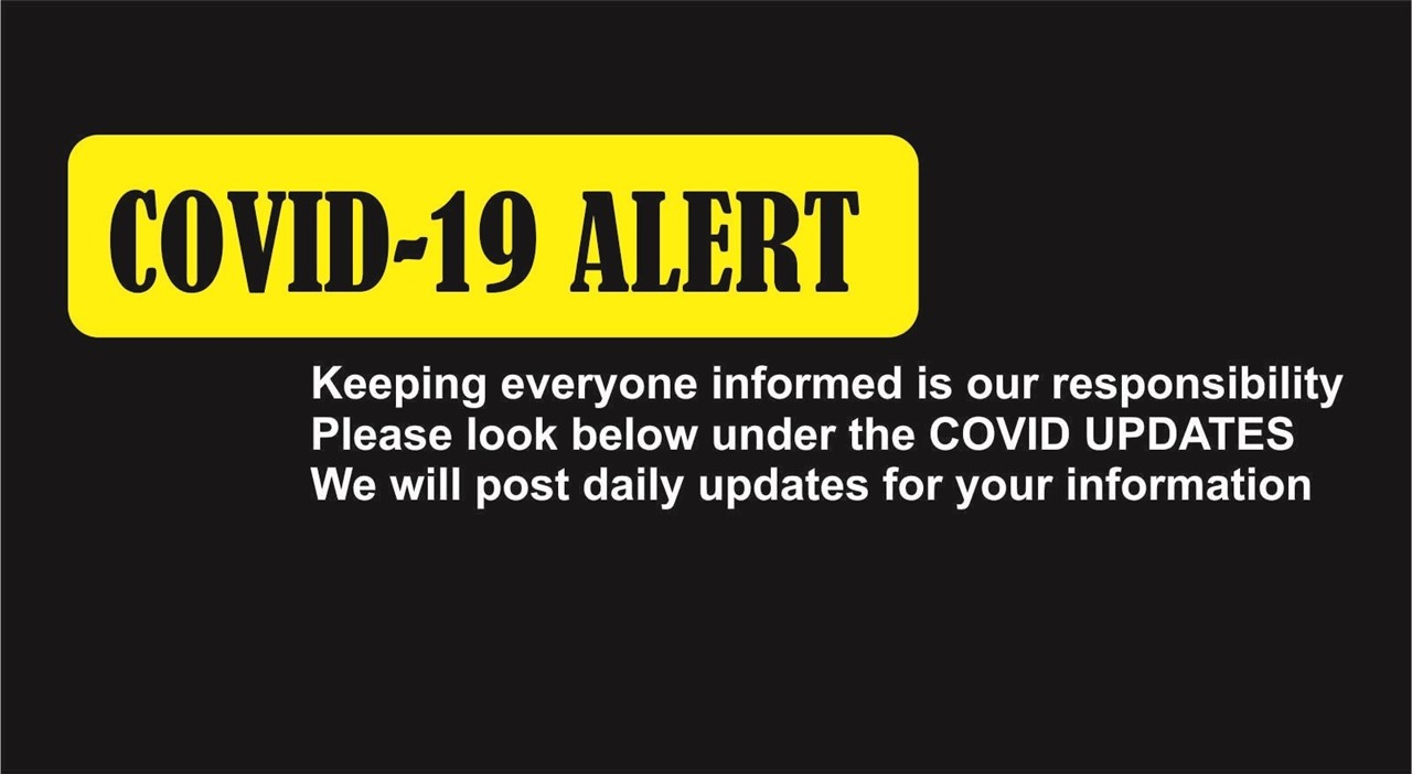 image of covid alert with instructions to click below for more updates under COVID UPDATES