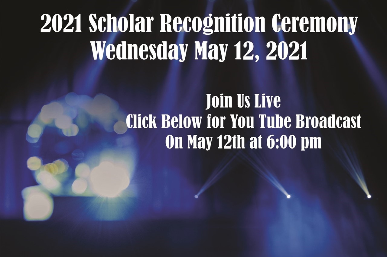 image of scholar ceremony with link to you tube broadcast