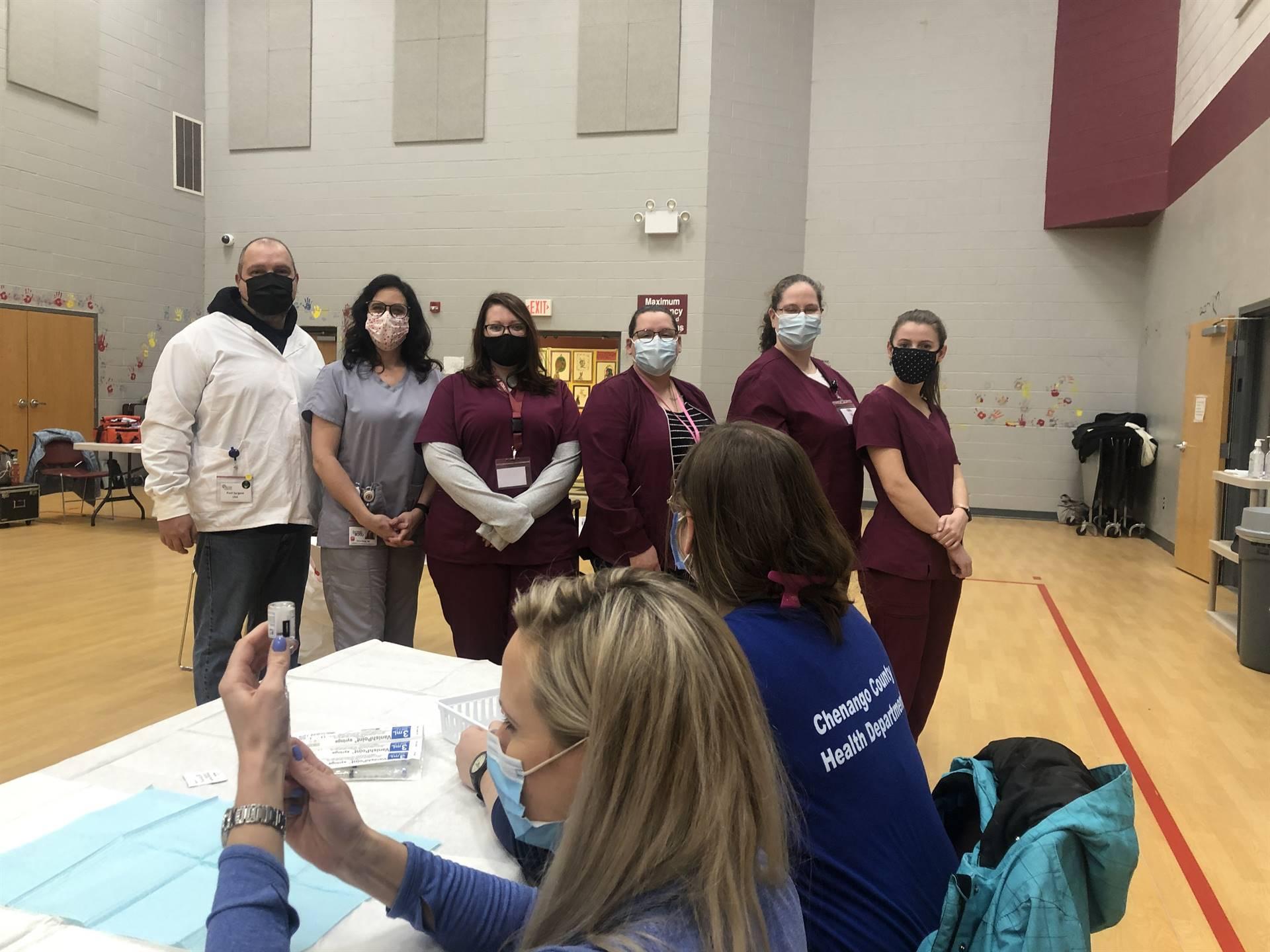 Image of nursing students at COVID clinics
