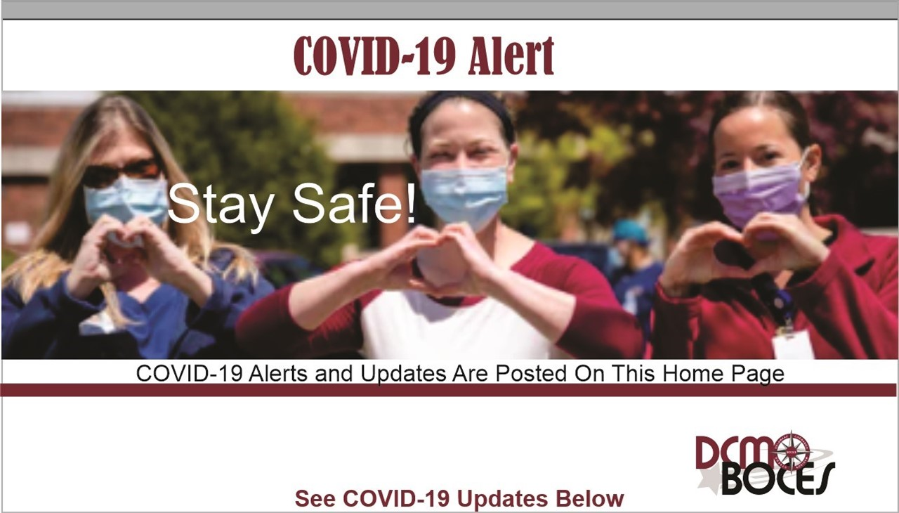 image of nurses with announcement of COVID ALERTS