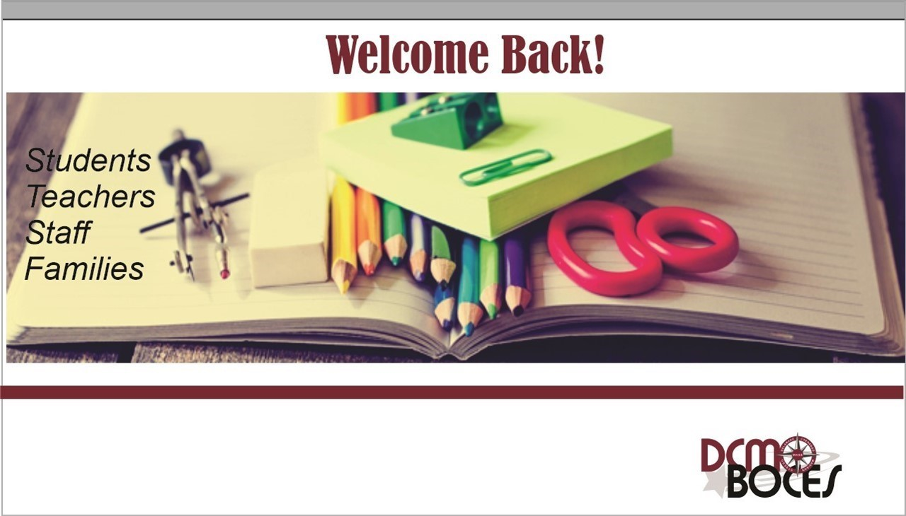 image of school supplies with message that says welcome back